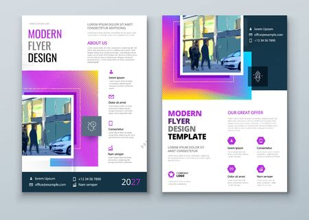 Flyer design. Modern Flyer Concept with Square Rhombus Shapes. Vector Background. Set - GB075.