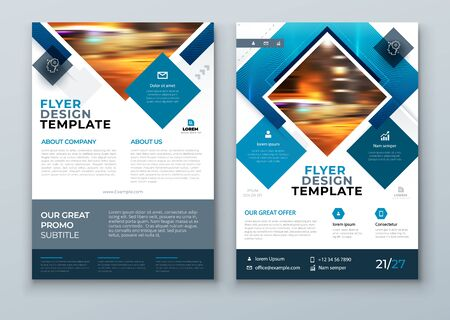 Blue Landscape Cover Background Design. Corporate Template for Business Annual Report, Catalog, Magazine or Flyer. Vector Background. Set - GB075.