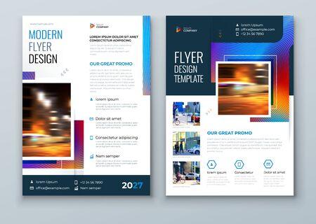 Blue Flyer design. Modern Flyer Concept with Square Rhombus Shapes. Vector Background. Set - GB075. 矢量图像