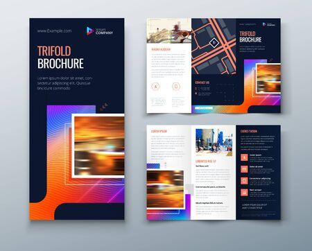Tri fold projekt broszury z kwadratowymi kształtami, szablon biznesowy dla ulotki tri fold. Kreatywna koncepcja składana ulotka lub broszura