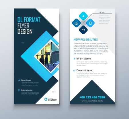 Blue DL Flyer design with square shapes, corporate business template for dl flyer. Creative concept flyer or banner layout 矢量图像