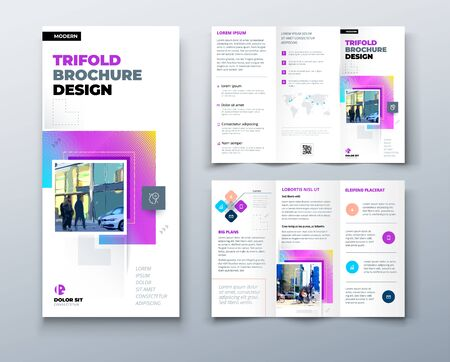 Tri fold brochure design with square shapes, corporate business template for tri fold flyer. Creative concept folded flyer or brochure. 矢量图像
