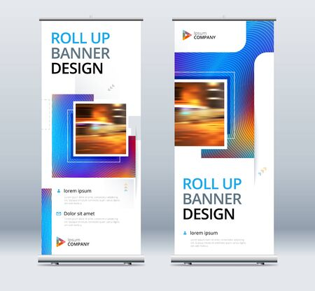 Blue Business Roll Up Banner. Abstract Roll up background for Presentation. Vertical roll up, x-stand, exhibition display, Retractable banner stand or flag design layout for conference, forum 矢量图像