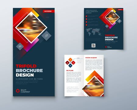 Bi fold brochure design with square shapes, corporate business template for bi fold flyer. Creative concept folded flyer or brochure