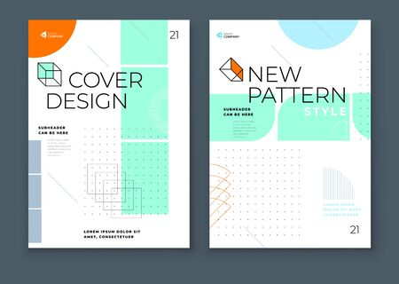 Covers with minimal geometric design. Modern abstract backgrounds for Brochures, Placards, Posters, Flyers, Banners etc. Eps10 vector template. Set - GB077.