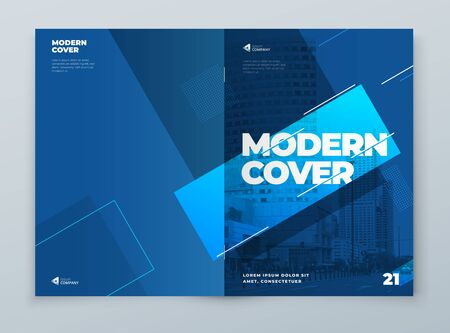 Brochure Template Layout Design. Blue Corporate Business Brochure, Annual Report, Catalog, Magazine, Flyer Mockup. Creative Modern Bright Concept with Line Shapes. Vector