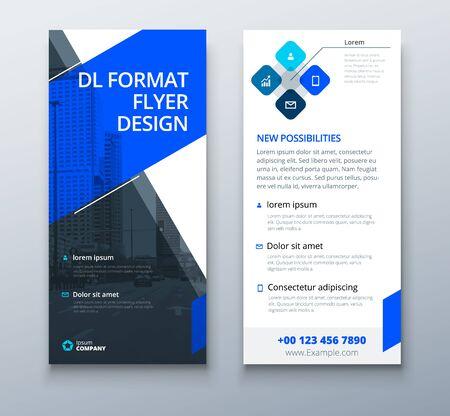 Blue DL Flyer design with square shapes, corporate business template for dl flyer. Creative concept flyer or banner layout. Vektorové ilustrace