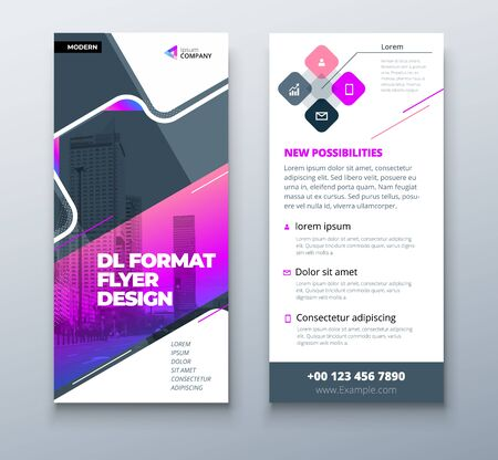 Purple DL Flyer design with square shapes, corporate business template for dl flyer. Creative concept flyer or banner layout.
