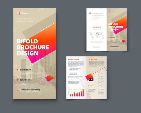 Bi fold brochure design with square shapes, corporate business template for bifold flyer. Creative concept folded flyer or bifold brochure.