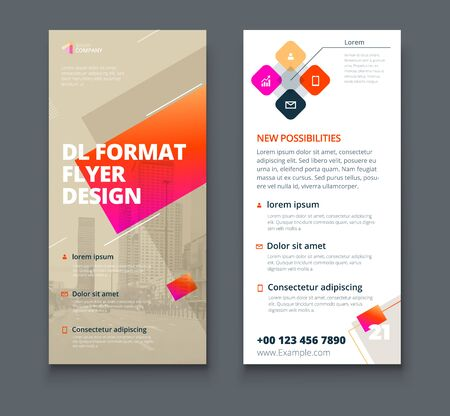 Biege DL Flyer design with square shapes, corporate business template for dl flyer. Creative concept flyer or banner layout. Vektorgrafik