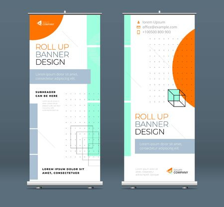 Business Roll Up Banner. Abstract Roll up background for Presentation. Vertical roll up, x-stand, exhibition display, Retractable banner stand or flag design layout for conference, forum