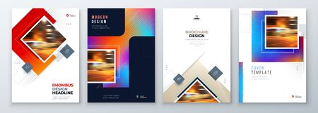 Brochure Cover Background Design. Corporate Template Layout for Business Annual Report, Catalog, Magazine or Flyer Mockup. Creative Modern Bright Concept with Square Rhombus Shapes. Vector Background. 벡터 (일러스트)
