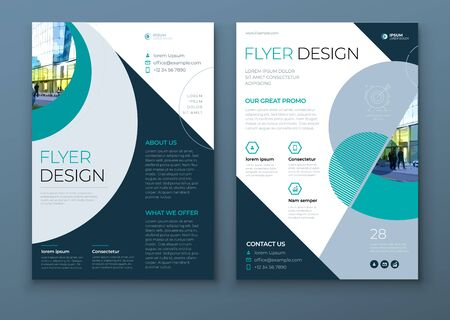 Flyer with minimal geometric design. Modern abstract background for Brochure, Placard, Poster, Flyer, Banner etc. vector flyer template. Vetores
