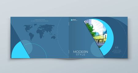 Landscape Cover with minimal blue geometric design. Modern abstract background for Horizontal Brochure, Placard, Report, Poster, Flyer, Banner etc. vector template.