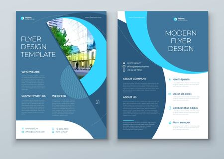 Flyer with minimal cyan blue geometric design. Modern abstract background for Brochure, Placard, Poster, Flyer, Banner etc. vector flyer template.