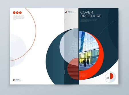 Cover with minimal red geometric design. Modern abstract background for Brochure, Placard, Report, Poster, Flyer, Banner etc. vector template.