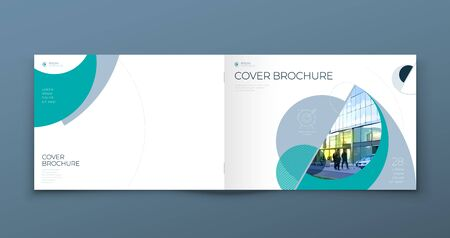 Landscape Cover with minimal teal geometric design. Modern abstract background for Horizontal Brochure, Placard, Report, Poster, Flyer, Banner etc. vector template.