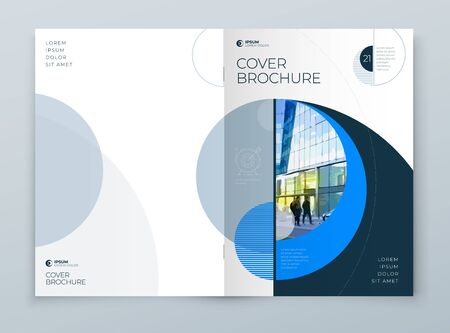 Cover with minimal blue geometric design. Modern abstract background for Brochure, Placard, Report, Poster, Flyer, Banner etc. vector template. Vettoriali