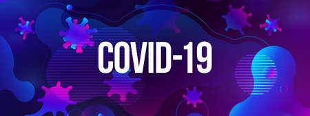 Coronavirus COVID-19 SARS-CoV-2 Social media Banner on a color background. Virus infections prevention. Deadly type of virus 2019-nCoV. Coronavirus microbe vector illustration