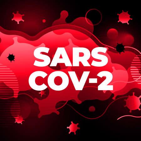 Coronavirus COVID-19 SARS-CoV-2 Social media Banner on a Red background. Virus infections prevention. Deadly type of virus 2019-nCoV. Coronavirus microbe vector illustration Vettoriali