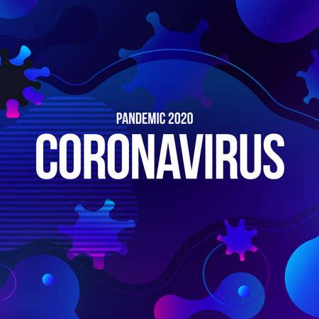 Coronavirus COVID-19 SARS-CoV-2 Social media Banner on a Blue background. Virus infections prevention. Deadly type of virus 2019-nCoV. Coronavirus microbe vector illustration Vettoriali