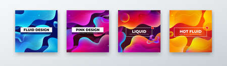 Liquid Color Background Design. Fluid Gradient Abstract Shapes Composition. Futuristic Design Background for Social Banner and Poster. vector Vettoriali
