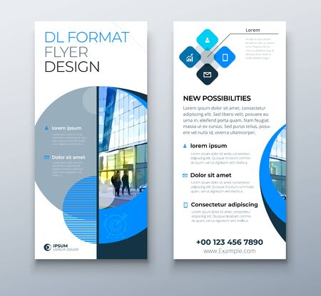 DL Flyer design. Blue business template for dl flyer. Layout with modern circle photo and abstract background. Creative flyer or brochure concept.