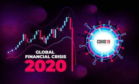 Coronavirus Financial Crisis Economic Stock Market Banking Concept. Falling Economy Covid 19 Ilustração