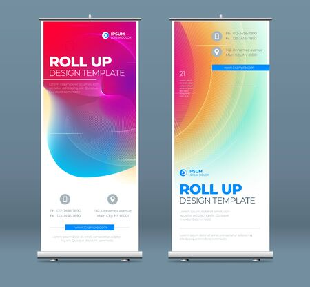 Roll Up banner stand presentation concept. Corporate business roll up template background. Vertical template billboard, banner stand or flag design layout. Poster for conference, forum, shop Vetores