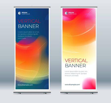 Roll Up Banner Stand Präsentationskonzept. Corporate Business Roll-up-Vorlage Hintergrund. Vertikale Vorlagen-Werbetafel, Bannerständer oder Flaggen-Design-Layout. Poster für Konferenz, Forum, Shop