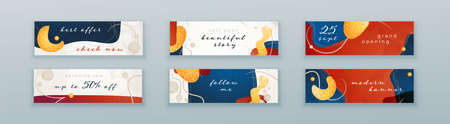 Liquid abstract banner design. Fluid Vector shaped background. Modern Graphic Template Banner pattern for social media and web sites Vettoriali