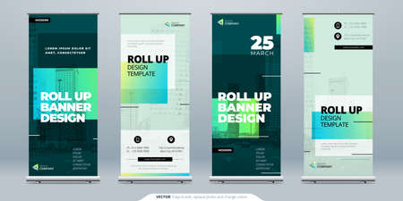 Green Business Roll Up Banner. Abstract Roll up background for Presentation. Vertical roll up, x-stand, exhibition display, Retractable banner stand or flag design layout for conference, forum.  イラスト・ベクター素材