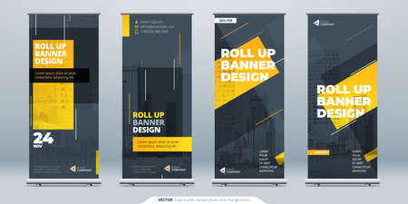 Business Roll Up Banner. Abstract Roll up background for Presentation. Vertical roll up, x-stand, exhibition display, Retractable banner stand or flag design layout for conference, forum.