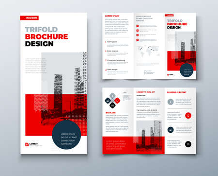 Tri fold red brochure design with square shapes, corporate business template for tri fold flyer. The template is white with a place for photos. Creative concept folded flyer or brochure. Vector Illustration