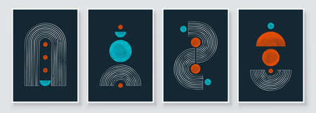 Mid Century Modern Design. A trendy set of Abstract Black Hand Painted Illustrations for Postcard, Social Media Banner, Brochure Cover Design or Wall Decoration Background. Vector illustration.