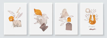 Painting Wall Pictures Home Room Decor. Modern Abstract Art Botanical Wall Art. Boho. Minimal Art Flower on Geometric Shapes Background. Abstract Plant Art design.