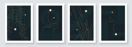 Modern Abstract Botanical Organic Art Illustration. Set of golden line painting wall art for house decoration. Luxury Minimalistic canvas background design. Vector wall art plants in boho style.