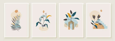 Abstract Botanical Organic Art Illustration. Set of soft color painting wall art for house decoration. Minimalistic canvas background design. Vector wall art plants in boho style.