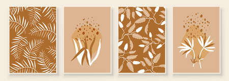 Beige Abstract Botanical Organic Art Illustration. Set of beige color painting wall art for house decoration. Minimalistic canvas background design. Vector wall art plants in boho style.