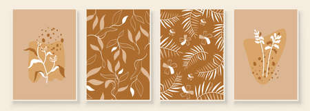 Beige Abstract Botanical Organic Art Illustration. Set of beige color painting wall art for house decoration. Minimalistic canvas background design. Vector wall art plants in boho style. Иллюстрация