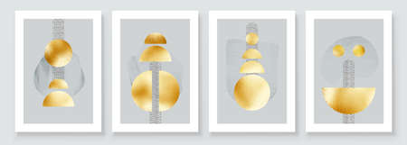 Abstract Art Illustration with Golden Circles. Set of aesthetic gold painting wall art for house decoration. Minimalistic canvas background design. Vector wall art shapes in boho style. Фото со стока