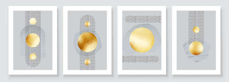 Abstract Art Illustration with Golden Circles. Set of aesthetic gold painting wall art for house decoration. Minimalistic canvas background design. Vector wall art shapes in boho style. Иллюстрация