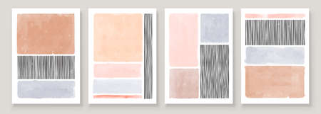 Set of Abstract Hand Painted Illustrations for Wall Decoration Art, Postcard, Social Media Banner, Brochure Cover Design Background. Modern Abstract Painting Artwork. Vector Pattern