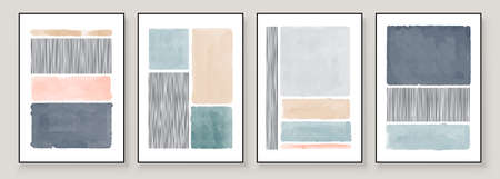 Set of Abstract Hand Painted Illustrations for Wall Decoration, Postcard, Social Media Banner, Brochure Cover Design Background. Grey Modern Abstract Painting Artwork. Vector Pattern