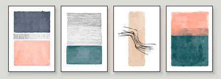Set of Abstract Hand Painted Illustrations for Wall Decoration, Postcard, Social Media Banner, Brochure Cover Design Background. Modern Abstract Painting Artwork. Teal and Peach Vector Pattern.