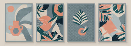 Teal and Peach Abstract Botanical Organic Art Illustration. Set of soft color painting wall art for house decoration. Minimalistic canvas background design. Vector wall art plants in boho style.