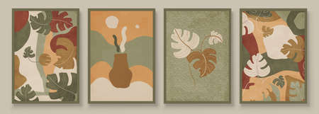 Green Abstract Botanical Organic Art Illustration. Set of soft color painting wall art for house decoration. Minimalistic canvas background design. Vector wall art plants in boho style. Иллюстрация