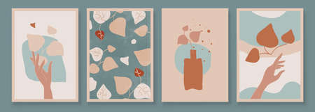 Teal and Peach Abstract Botanical Art with Woman Hands. Set of soft color painting wall art for house decoration. Minimalistic canvas background design. Vector wall art plants in boho style. Иллюстрация