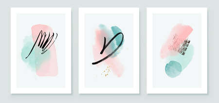 Teal and Peach Abstract Watercolor Compositions. Set of soft color painting wall art for house decoration or invitations. Minimalistic background design. Vector wall art plants in minimalist style. Иллюстрация