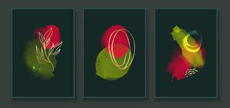 Green and Red Abstract Watercolor Compositions. Set of vivid color painting wall screen art decoration. Minimalistic background design. Vector wall art plants in minimalist style.